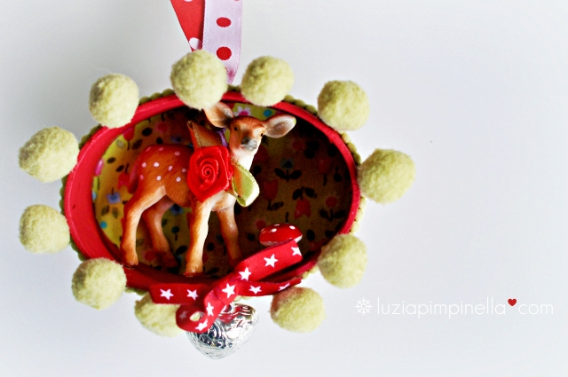 [luzia pimpinella BLOG ] DIY: tierische tannenbaumanhänger zu weihnachten: ein reh in der box / wild animal tree ornaments for christmas: a deer in a box