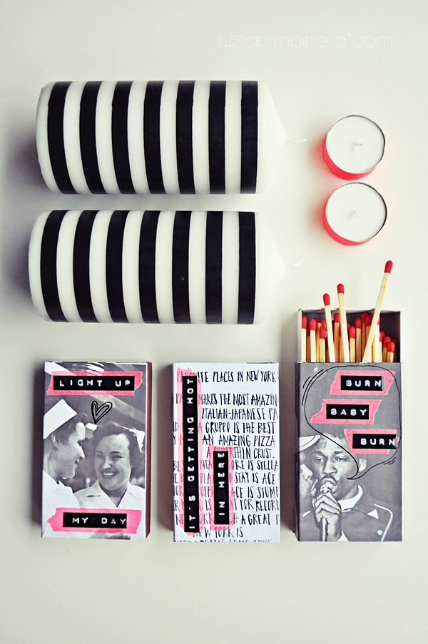 [luzia pimpinelle BLOG] DIY - cooles S/W und neon streichholzschachtel makeover / cool B/W and neon matchboxes make over