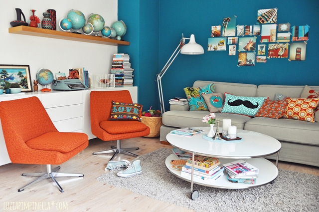luzia pimpinella | interior home story | unser wohnzimmer in petrol, türkis und orange | our living room in teal, turquoise and orange