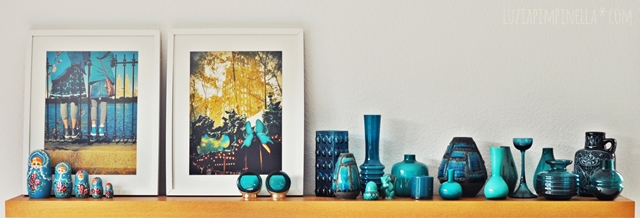 luzia pimpinella | home story | vintage vasen sammlung in petrol | teal vintage vases collection