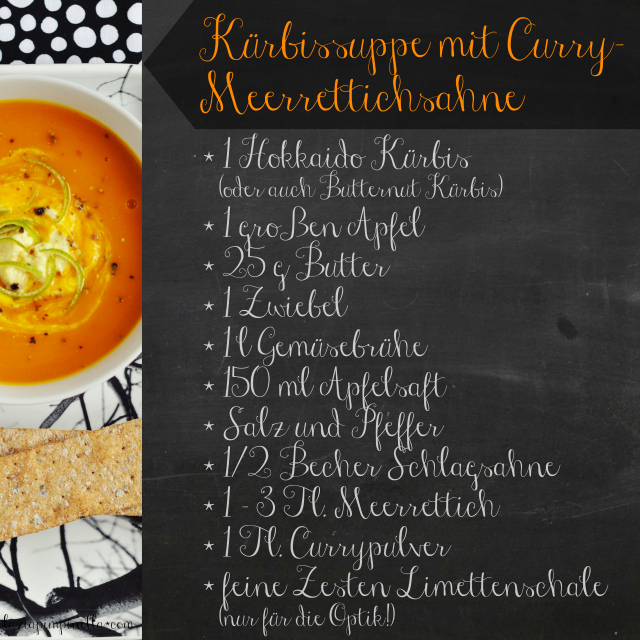 luzia pimpinella | rezept: kürbissuppe mit curry-meerrettichsahne | recipe: pumpkin soup with curry & horseradish cream