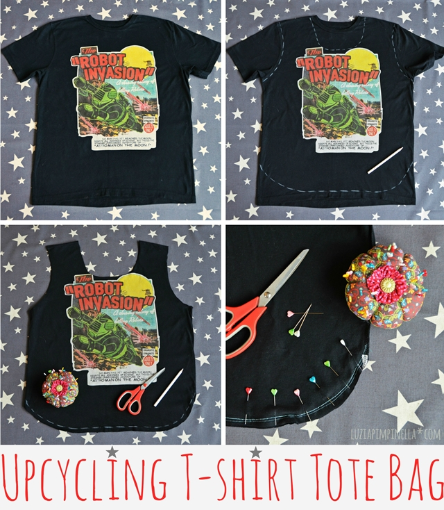 luzia pimpinella | DIY | nähanleitung upcycling t-shirt einkaufsbeutel | sewing tutorial upcycled tee tote bag