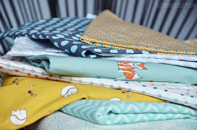 luzia pimpinella | DIY | patchwork-stoffe in mint & senfgelb  |  pretty fabrics in mint & mustard yellow