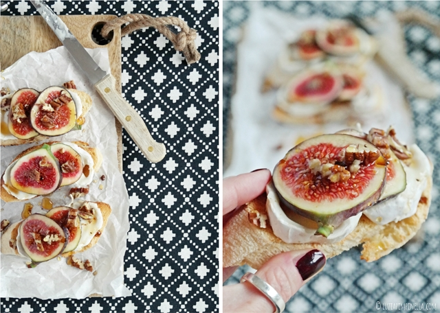 rezept - ziegenkäse bruschetta mit feigen, trüffelhonig & pecannüssen | recipe -  goat cheese bruschetta w/ figs, truffle honey & pecan nuts | ©luziapimpinella.com