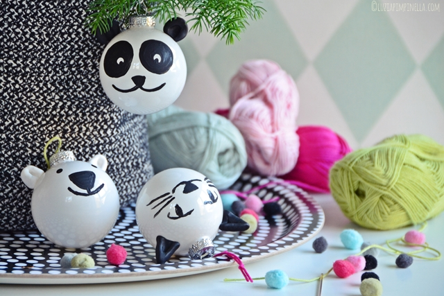 diy putzige panda eisb r weihnachtskugeln. Black Bedroom Furniture Sets. Home Design Ideas