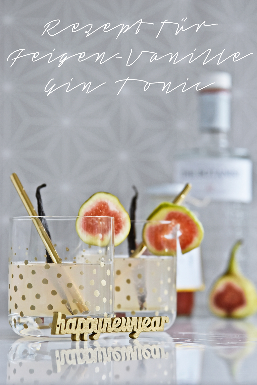 diy gl ser mit goldenen punkten feigen vanille gin tonic. Black Bedroom Furniture Sets. Home Design Ideas