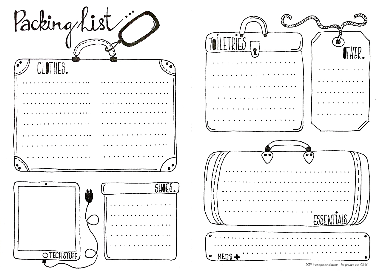 luzia pimpinella free printable - 2019 © luziapimpinella.com – Bullet Journal Urlaubspackliste zum Ausdrucken - for PRIVATE USE ONLY